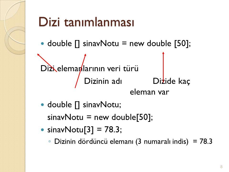 Dizi tanımlanması double [] sinavNotu = new double [50];